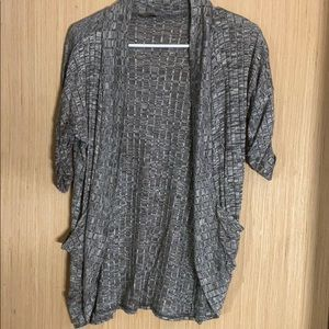 Grey Knit Shaw with pockets Cardigan